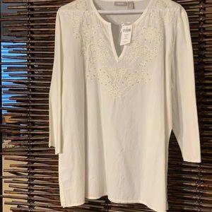 Chico's white cotton boho top NWT size large